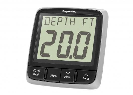 Technically advanced Raymarine i50 depth system with reliable indication, even at high speeds.    minimum / maximum depth  audio alarm for flat / deep water and anchor  trend indicator   (Image 3 of 4)
