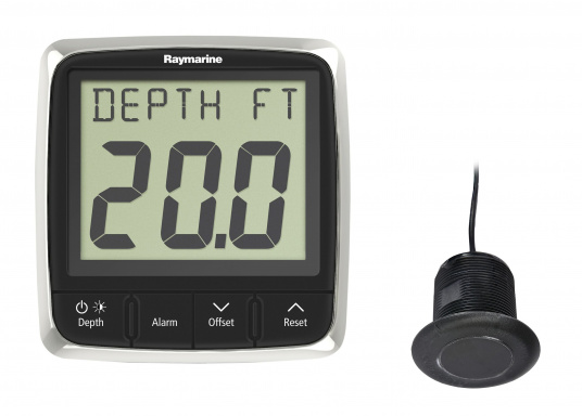 Technically advanced Raymarine i50 depth system with reliable indication, even at high speeds.    minimum / maximum depth  audio alarm for flat / deep water and anchor  trend indicator