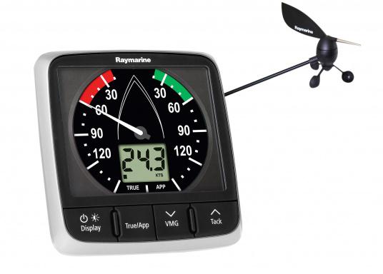 L'indicatore i60 combina i dati del vento analogici e digitali. Calcola la velocità e l'angolo del vento apparente e reale, la massima velocità del vento, ecc. Fornito di unitä superiore e cavo di collegamento.