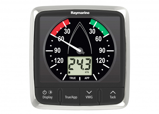 The i60 Wind indicator combines analog and digital data. It calculates apparent and true wind speed / angle, maximum wind speed etc. Supplied with masthead unit and connection cable.  (Image 2 of 7)