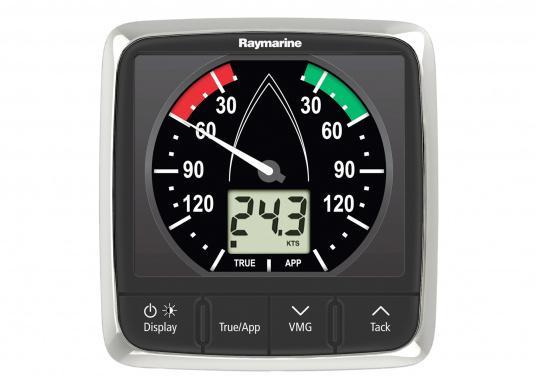 L'indicatore i60 combina i dati del vento analogici e digitali. Calcola la velocità e l'angolo del vento apparente e reale, la massima velocità del vento, ecc. Fornito di unitä superiore e cavo di collegamento.  (Immagine 2 di 7)