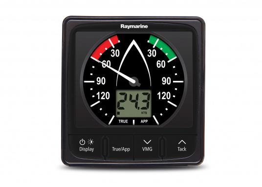L'indicatore i60 combina i dati del vento analogici e digitali. Calcola la velocità e l'angolo del vento apparente e reale, la massima velocità del vento, ecc. Fornito di unitä superiore e cavo di collegamento.  (Immagine 3 di 7)