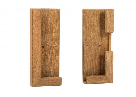 Die praktische Teak Halterung besteht aus zwei Einzelteilen und kann so für verschiedene Tablets passend montiert werden. Abmessungen, je Einzelteil (HxB): 185 x 73 mm. (Bild 4 von 4)