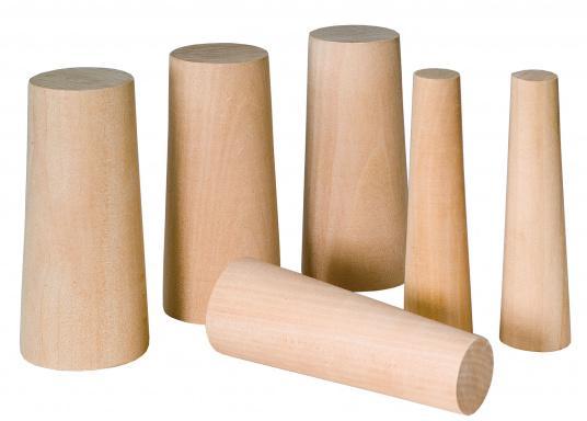 Konische gearbeitete Holznotstopfen zum Abdichten von Leckagen. Packungsinhalt: 10 Stck. Größen: Ø 10 mm- 40 mm.  (Bild 2 von 2)