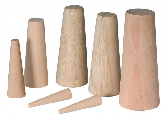 Konische gearbeitete Holznotstopfen zum Abdichten von Leckagen. Packungsinhalt: 10 Stck. Größen: Ø 10 mm- 40 mm.