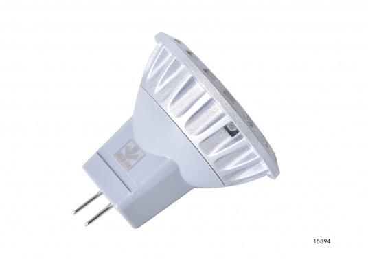 Der dimmbare LED Einsatz MR11 liefert warmweißes Licht mit max. 200 Lumen. Material: Aluminiumguss. Ø: 35 mm, Länge: 29 mm. Lichtstrahl: 30°. 10 - 30 V DC.2,5 Watt.  (Bild 5 von 6)
