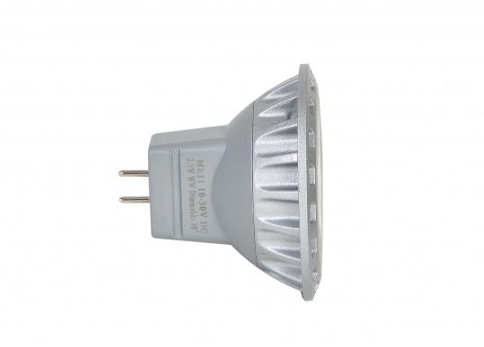 Der dimmbare LED Einsatz MR11 liefert warmweißes Licht mit max. 200 Lumen. Material: Aluminiumguss. Ø: 35 mm, Länge: 29 mm. Lichtstrahl: 30°. 10 - 30 V DC.2,5 Watt.  (Bild 3 von 6)