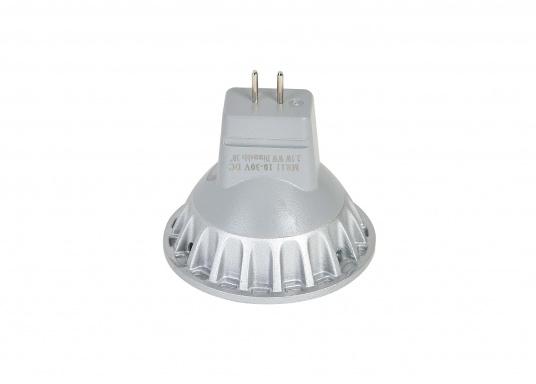 Der dimmbare LED Einsatz MR11 liefert warmweißes Licht mit max. 200 Lumen. Material: Aluminiumguss. Ø: 35 mm, Länge: 29 mm. Lichtstrahl: 30°. 10 - 30 V DC.2,5 Watt.  (Bild 4 von 6)