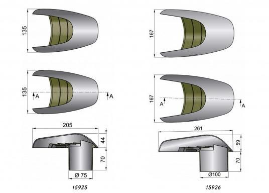 Lüfter mit einer Hülle aus hochglanzpoliertem Edelstahl, alleanderen Teile bestehen aus synthetischem Material. Geeignet für horizontalen und vertikalen Gebrauch.Erhältlich in zwei Ausführungen. (Bild 3 von 3)