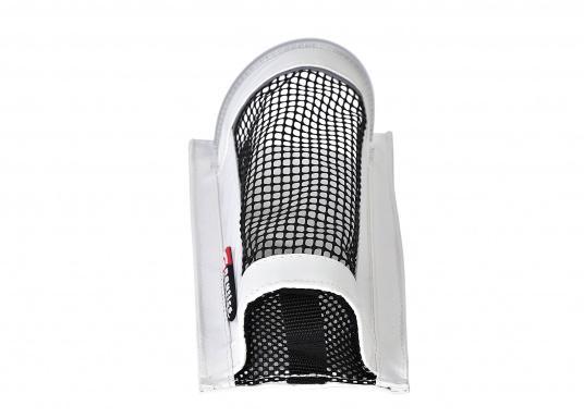 Windenkurbeltasche mit Innenschicht aus PVC und PU Netz. Die Tasche lässt sich mit der selbstklebenden Klettbandbefestigung auf der Rückseite nahezu überall mühelos anbringen – keine Bohrlöcher mehr nötig! (Bild 3 von 4)
