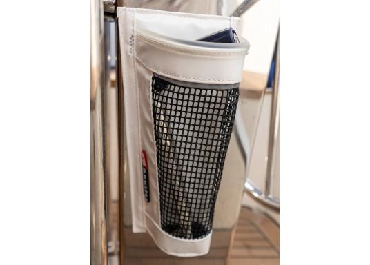 Windenkurbeltasche mit Innenschicht aus PVC und PU Netz. Die Tasche lässt sich mit der selbstklebenden Klettbandbefestigung auf der Rückseite nahezu überall mühelos anbringen – keine Bohrlöcher mehr nötig! (Bild 2 von 5)