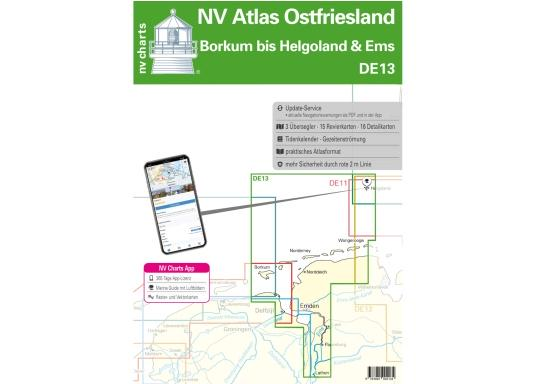NV Atlas DE13: Eastern Frisian Islands, Borkum toHelgoland and RiverEms. Overview charts, area maps, marina maps, Download with digital charts and navigation software.