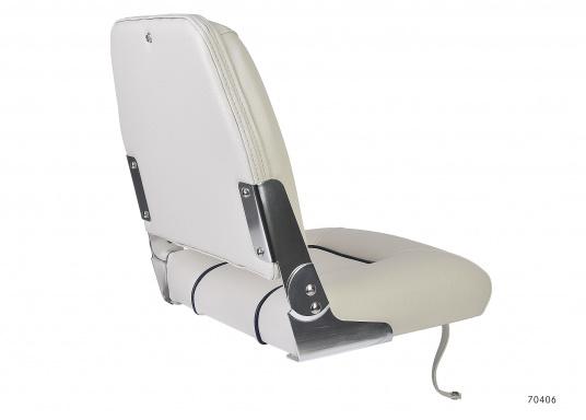 Dieser Bootsstuhl mit klappbarer Rückenlehne ist praktisch und komfortabel zugleich. Breite: 40 cm, Tiefe: 48 cm, Höhe: 45 cm. Sitzfläche: 40 x 35 cm. Lieferung ohne Stuhlfuß. Farbe: weiß.  (Bild 2 von 4)
