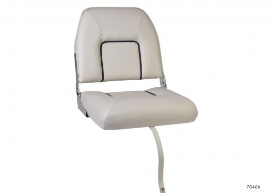Dieser Bootsstuhl mit klappbarer Rückenlehne ist praktisch und komfortabel zugleich. Breite: 40 cm, Tiefe: 48 cm, Höhe: 45 cm. Sitzfläche: 40 x 35 cm. Lieferung ohne Stuhlfuß. Farbe: weiß.