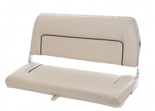 Auf dieser komfortablen Bank mit klappbarer Rückenlehne haben zwei Personen bequem Platz. Breite: 90 cm, Tiefe: 48 cm, Sitztiefe: 35 cm, Höhe: 45 cm.