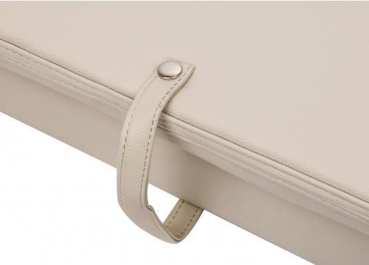 Auf dieser komfortablen Bank mit klappbarer Rückenlehne haben zwei Personen bequem Platz. Breite: 90 cm, Tiefe: 48 cm, Sitztiefe: 35 cm, Höhe: 45 cm.  (Bild 4 von 7)