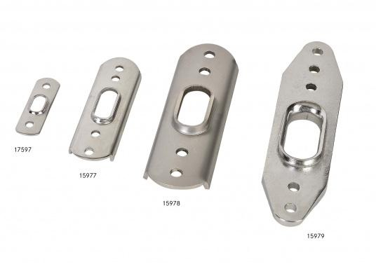 Rost- und säurebeständige, hochglanzpolierte Ankerplatten. Passend für T-Terminals. Erhältlich in verschiedenen Größen.