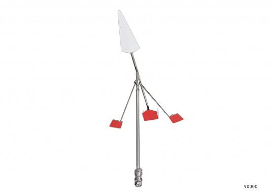 Windrichtungsanzeiger WIND PE aus rostfreiem Edelstahl. Die Windfahne hält auch UV-Strahlung stand und wird nicht brüchig oder spröde– hier lässt sich auch mal wieder was gerade biegen. EinpassenderWinkelfußist separat erhältlich. (Bild 2 von 2)