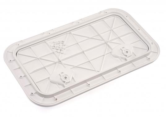 Clevere Zugangsklappen für Inspektionsöffnungen, Stauräume oder auch als Bodenluke im Fußboden. Die Oberfläche ist begehbar und für sicheren Halt mit Antirutschhaftung beschichtet. Lieferbar in verschiedenen Größen.  (Bild 13 von 14)
