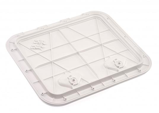 Clevere Zugangsklappen für Inspektionsöffnungen, Stauräume oder auch als Bodenluke im Fußboden. Die Oberfläche ist begehbar und für sicheren Halt mit Antirutschhaftung beschichtet. Lieferbar in verschiedenen Größen.  (Bild 8 von 14)