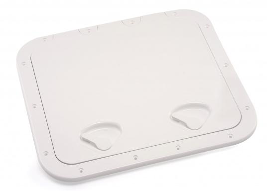 Clevere Zugangsklappen für Inspektionsöffnungen, Stauräume oder auch als Bodenluke im Fußboden. Die Oberfläche ist begehbar und für sicheren Halt mit Antirutschhaftung beschichtet. Lieferbar in verschiedenen Größen.  (Bild 5 von 14)