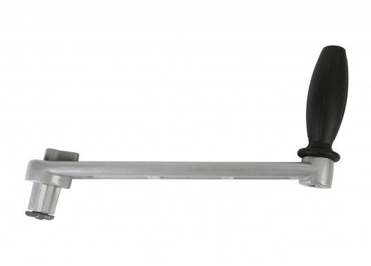 """Einfache, leichte Aluminium-Windenkurbel mit schwarzem Kunstoffgriff. Länge: 200 mm (8"""")."""