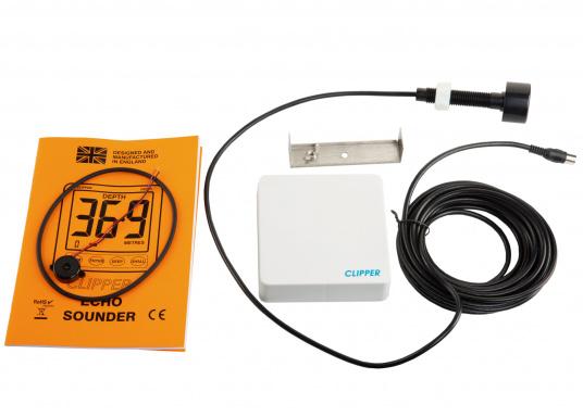 L'ecoscandaglio CLIPPER offre dati sulla profondità da0,8 m a 100 m, poco profondo, profondo e allarmeancoraggio, il display da UK Kiel, sensore o acque di superficie, smorzamento e amplificazione regolabile. Un trasduttore da 150 kHz è incluso.  (Immagine 7 di 7)