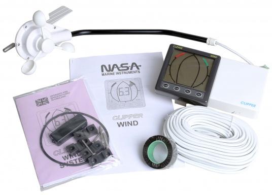 Girouette-anémomètre CLIPPER Wind avec affichage analogique de l'angle au vent. La vitesse du vent est affichée en noeuds, m/s ou Mph et peut être lissée. (Image 5 de 10)