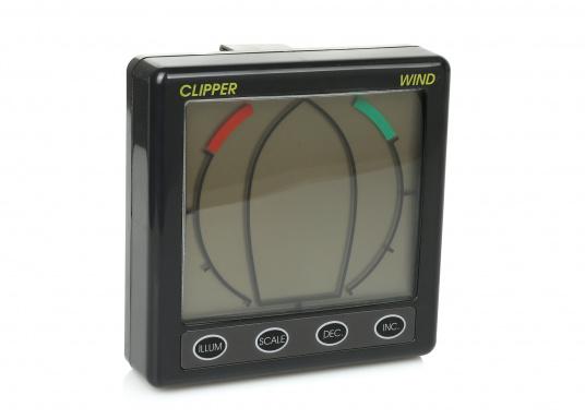 Girouette-anémomètre CLIPPER Wind avec affichage analogique de l'angle au vent. La vitesse du vent est affichée en noeuds, m/s ou Mph et peut être lissée. (Image 2 de 10)