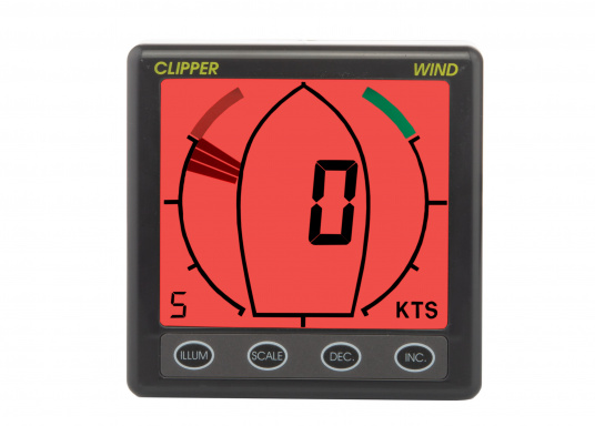 Girouette-anémomètre CLIPPER Wind avec affichage analogique de l&#39&#x3B;angle au vent. La vitesse du vent est affichée en noeuds, m/s ou Mph et peut être lissée.