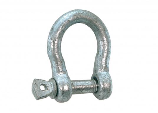 Diese belastbaren Stahl-Schäkel sind verzinkt und haben eine geschweifte Form. Erhältlich in verschiedenen Größen.