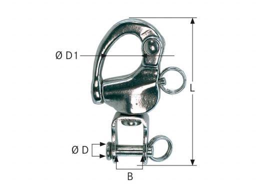 Stabile und belastbare Niro-Fockschötschäkel mit Wirbel-Öse. Erhältlich in drei Größen. (Bild 2 von 2)