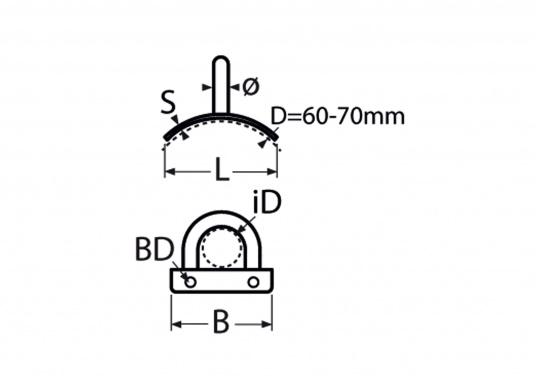 Augplatten aus poliertem Edelstahl. Mit senkrecht gebogenem Bügel.  (Bild 4 von 4)