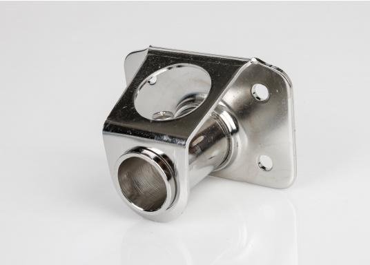 Relingfuß ausrostfreiemEdelstahl, hochglanzpoliert.Passend für 25 mm Relingsstützen.Rechteckige Grundplatte.Lieferbar in zwei Ausführungen: gerade oder 5° geneigt.  (Bild 4 von 8)