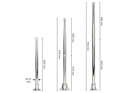 Erstklassige Qualität undeleganter Form.Relingstützen aus rostfreiem Edelstahl,hochglanzpoliert(V4A). Konisch zulaufend. Geeignet für Rohr-Ø: 25 mm. Erhältlich in drei Ausführungen.  (Bild 2 von 2)