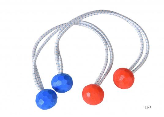Praktisch und unverzichtbar! Diese doppelsträngigen Gummi-Segeleinbinder sind an jedem Ende mit einer Griffkugel bestückt –praktisch zum schnellen einbinden von Segeln.