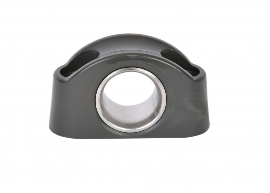Schotdurchführung / Leitöse aus Kunststoff in Schwarz. Buchse aus Edelstahl, rostfrei. Durchlass: 12 mm, Länge: 40 mm, Höhe: 23 mm, Lochabstand: 25 mm, für 4 mm Schrauben.