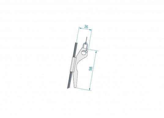 Äußerst nützliche Flaggenleinenklampe zur Montage an Stagen oder Wanten. Geeignet für bis zu 8 mm Drahtdurchmesser. Material: Kunststoff mit Niroklammer. (Bild 3 von 3)