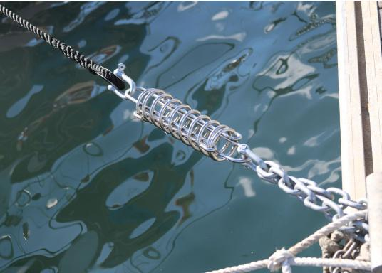 These mooring spring should not be missing at any dock mooring. It will absorb shocks and help eliminate sudden jerks caused by waves or swells when moored. Made of stainless steel, available in 2 sizes.