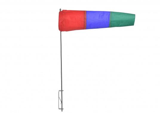 Der Windsack hat ein Gestell aus rostfreiem Edelstahl und ist mit einer Seitenbefestigung ausgestattet. Erhältlich in zwei Ausführungen: 60 mm Ø und 100 mm Ø. (Bild 3 von 7)