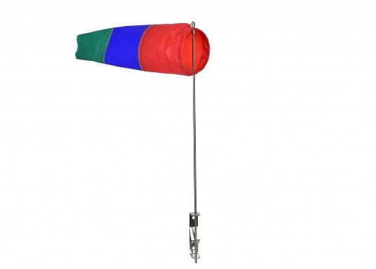 Der Windsack hat ein Gestell aus rostfreiem Edelstahl und ist mit einer Seitenbefestigung ausgestattet. Erhältlich in zwei Ausführungen: 60 mm Ø und 100 mm Ø.
