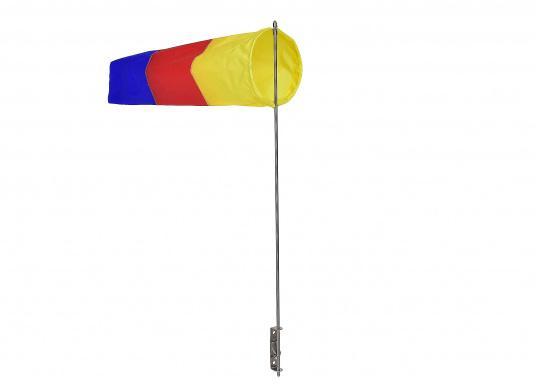 Der Windsack hat ein Gestell aus rostfreiem Edelstahl und ist mit einer Seitenbefestigung ausgestattet. Erhältlich in zwei Ausführungen: 60 mm Ø und 100 mm Ø. (Bild 4 von 7)