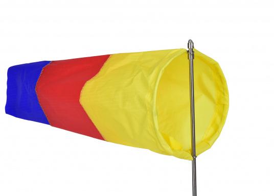 Der Windsack hat ein Gestell aus rostfreiem Edelstahl und ist mit einer Seitenbefestigung ausgestattet. Erhältlich in zwei Ausführungen: 60 mm Ø und 100 mm Ø. (Bild 5 von 7)