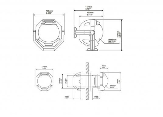 Schott-Einbaukompass für Segelschiffe, mit konischer Rose. Dank doppelter Beleuchtung auch bei Dunkelheit von oben und von vorne gut lesbar.  (Bild 3 von 3)