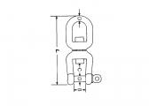 Kettenwirbelschäkel GABEL / GABEL - Innensechskant