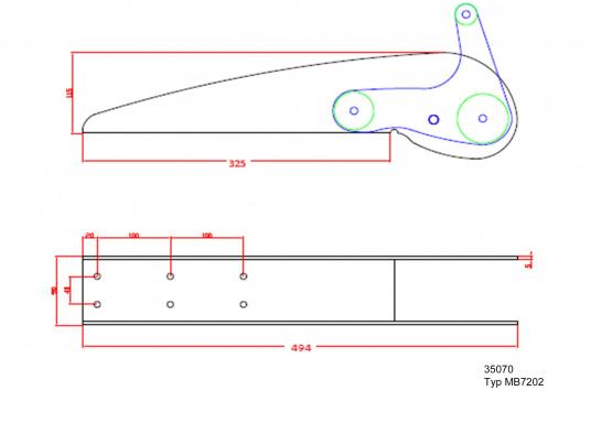Extra starke Ausführung mit Wippe. Besonder geeignet für Bruce und CQR-Pflugschar-Anker. Material: Edelstahl, rostfrei. Materialstärke: 5 mm.  (Bild 7 von 10)