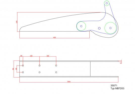 Extra starke Ausführung mit Wippe. Besonder geeignet für Bruce und CQR-Pflugschar-Anker. Material: Edelstahl, rostfrei. Materialstärke: 5 mm.  (Bild 8 von 10)