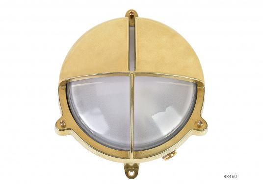 Solid brass wall light. Ideal for outdoor use since this lamp is completely waterproof. Natural brass.