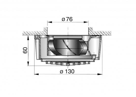 Besonders lange Lebensdauer und nahezu geräuschlos! Dieser Elektro-Lüfter eignet sich hervorragend fürdie nachträgliche Montage unterhalb von Standard-, Decks- und Pilzlüftern. Lieferbar in zwei Versionen: 12 V oder 24 V.  (Bild 2 von 2)