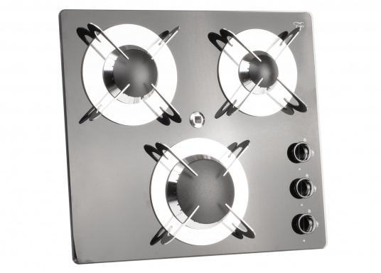Der3-flammiger Einbaukocher besticht durch sein edles Design mit schwarzer Glaskeramik. Die Brennersind jeweils mit einer Zündsicherung ausgestattet. CE-Zulassung.Anschlussdruck: 30 mbar.  (Bild 3 von 7)